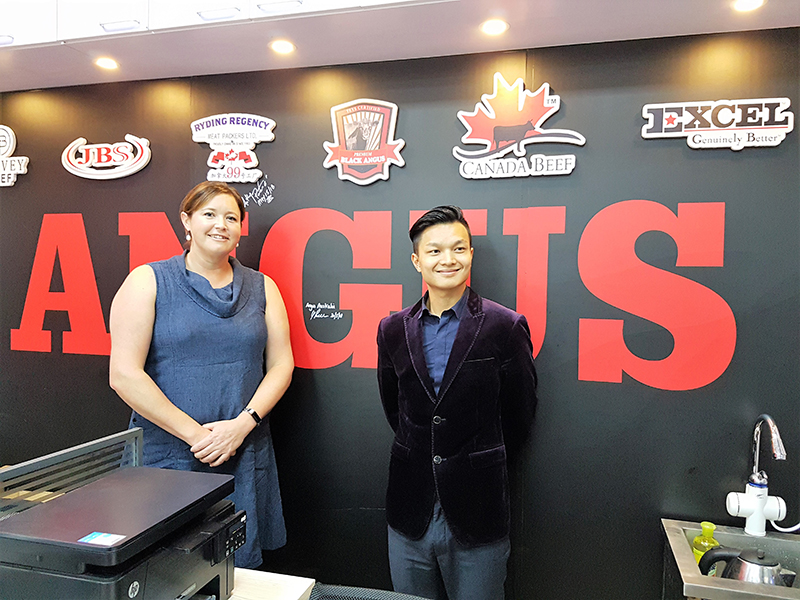 Liz Pearson, Angus Australia, with Leader Beef Foods Trade Co Ltd General Manager, Cedric Dai in their trade store at DaJiangYang Wet Market in Boashan District Shanghai