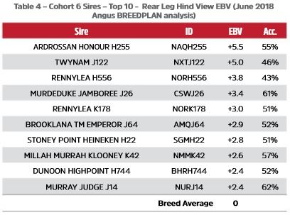 Table 4 - Cohort 6 Sires - Top 10 -  Rear Leg Hind View EBV (June 2018 Angus TACE analysis)