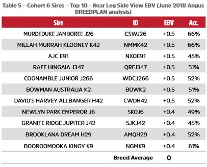Table 5 - Cohort 6 Sires - Top 10 -  Rear Leg Side View EBV (June 2018 Angus TACE analysis)