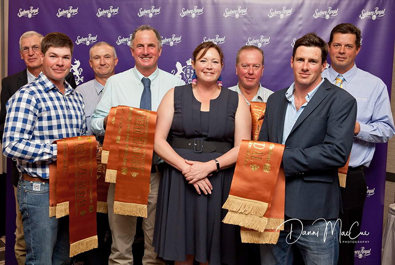 Ian MacCue from MacCue Trading Pty Ltd, Brett Ellem from Yulgilbar Past Co, Jason Impey from Mala-Daki, Neil Watson on behalf of Calga West Pty Ltd, James Millner from Millner Ag & Lachlan James from James Family Agriculture receiving Bronze Medals for the 100 Day Export Team Taste Test from Liz Pearson from Angus Australia.