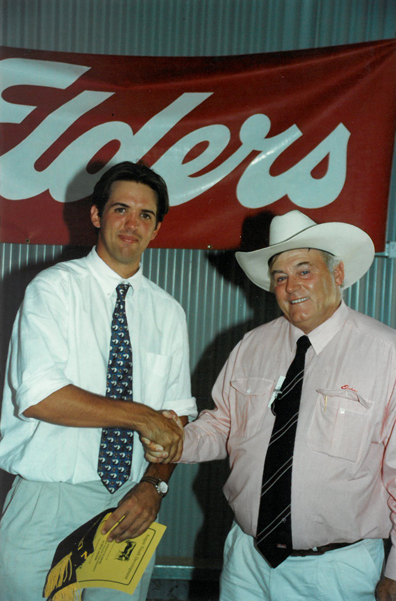 David Slatter won the Michigan State University scholarship at the 1998 Angus Youth National Roundup & is pictured with Mike Traynor representing the sponsor at the time, Elders.