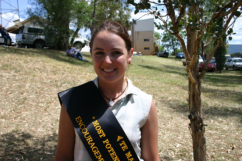 Angus Australia Events and Youth Development Officer Candice Liddle pictured at Roundup 2005 in Gunnedah. Candice won the Te Mania Most Potential Stud Breeder Encouragement Award