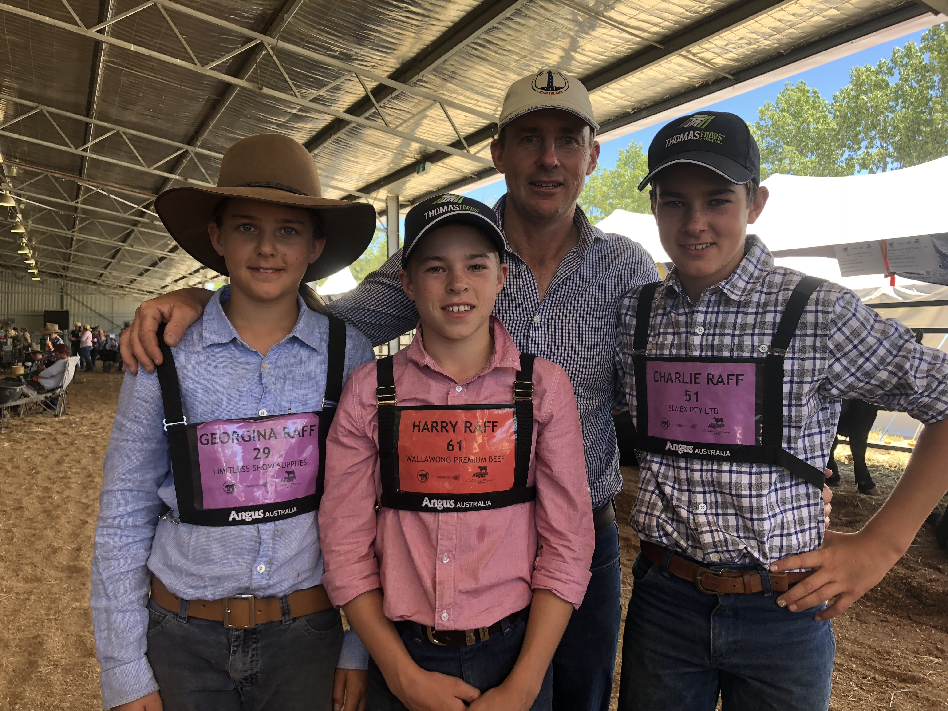 Georgina, Harry, Andrew and Charlie Raff at the 2019 Thomas Foods International Angus Youth Roundup