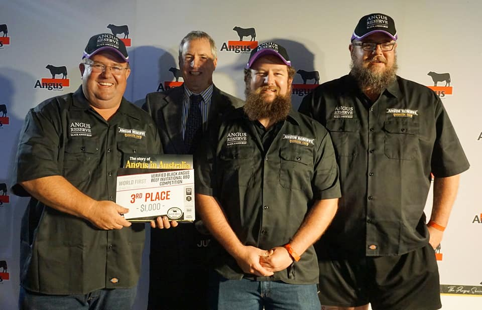 Third Place Angus Reserve Barbeque Team with Angus Australia President Brad Gilmour
